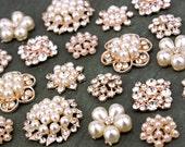 10 Assorted Rhinestone Crystal Flatback Button Brooch Flower Pearl Rose Gold Napkin Ring Hair Clip fm01