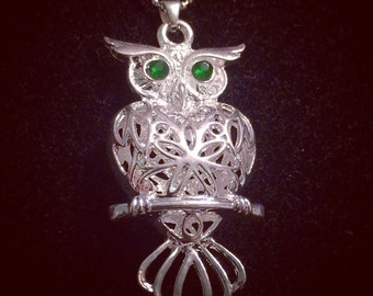 Sterling Silver Owl Pendant Necklace 20in Chain