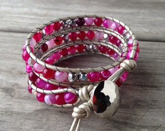 Pink Agate and Silver Czech Beaded Triple Leather Wrap Bracelet