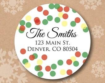 Address Label Christmas Return Address Labels Holiday Lights Confetti Christmas Card Sticker Personalized