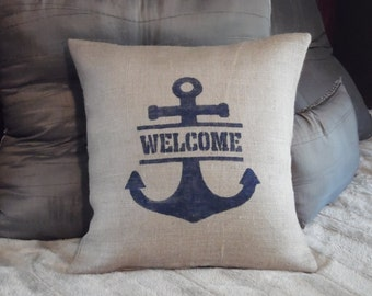 Custom made burlap navy blue Welcome nautical anchor pillow cover/sham. Multiple sizes to choose.