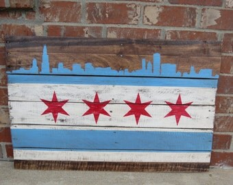 Chicago flag with Chicago Skyline, Hand Painted on Reclaimed Wood