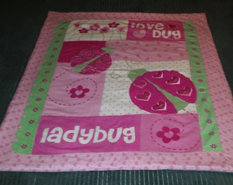 Pink Love Bug Baby Blanket