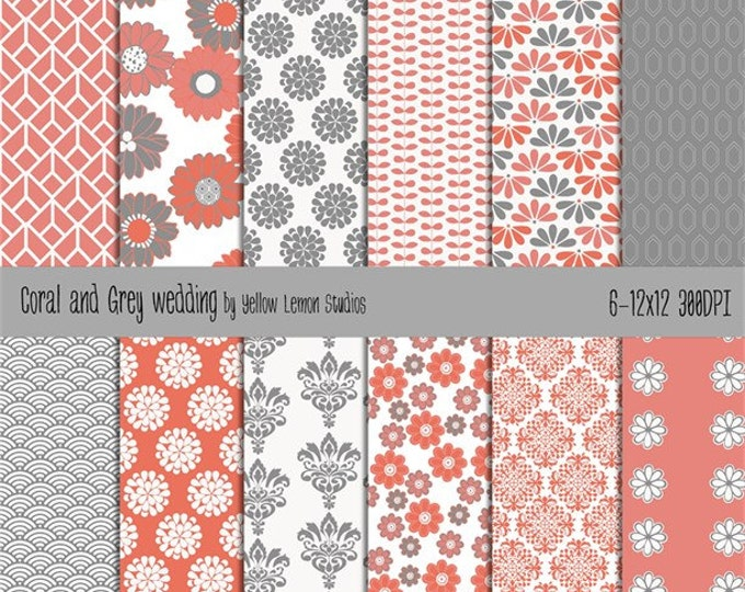 "Coral and Grey background papers ""CORAL GREY WEDDING""damask, coral, grey, floral, dahlia, flower pattern, white,digital, printable, wedding"