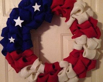 Burlap American Flag Inspired Wreath
