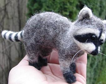 Needle Felted Raccoon Sculpture Christmas Decor