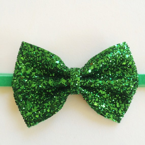 X-large Green glitter bow