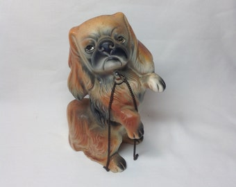 Vintage Sitting Pekingese Porcelain Dog Figurine with Chains