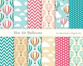 Hot Air Balloons Digital Papers - Colorful hot air balloons. Chevron. Polkadot Papers. Cloud Digital Paper. Hot Air Balloons.12 Images.