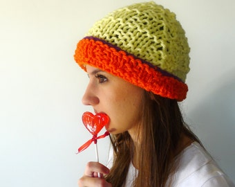 Yellow beanie hat. Girls winter hat. Chunky knit hat. Womens knitted hat. Gift idea for her