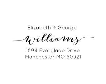 """Custom Return Address Stamp, personalized address stamp, return address stamp, envelope stamp, personalised wedding stamp, 2.5""""x1"""" (cas59)"""
