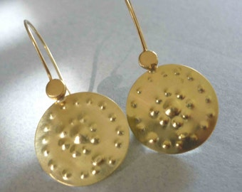 Earrings made of 585 yellow gold, hand forged and very light, for each day