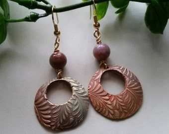 Bronze clay hoop earrings