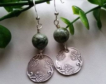 Fine silver precious metal clay earrings.
