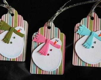 Snowman Holiday gift tags - scrapbooking tags - gift card tag