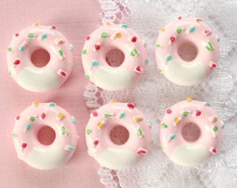 6 Pcs Tiny Pink Sprinkle Doughnut Cabochons - 13mm