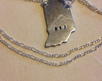 Handmade, hand stamped silver I Love Indiana necklace