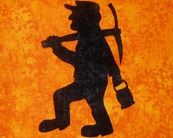 Miner Silhouette Quilt Applique Pattern Design Coal Miner, Gold