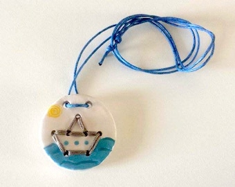 Pendant ceramic and cotton