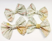 Girl Hair Bow, World Map Hair Bow - Map Hairbow - Vintage Map Bow - Traveling Hair Bow - Travel Bow