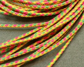 Bolo Tie Cord, Bright Pink, Green and Yellow, 35 1/2 inches long BBTC1A