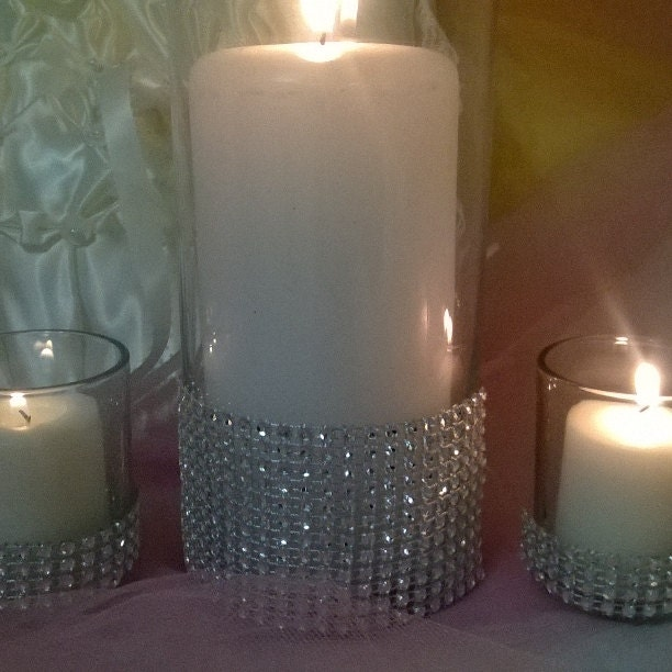 Wedding centerpiece candle holders rhinestone vase set of