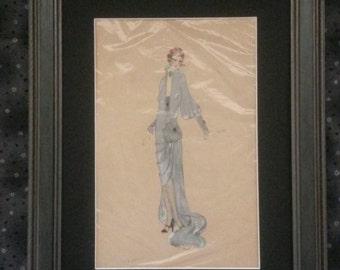 Original hand drawn costume drawing circa 1920's