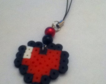 Gamer heart phone charm with strap