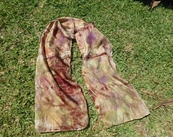 Beautifully eco printed silk scarf.