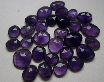 50 carat NATURAL African AMETHYST rose cut flat gemstone.. free size apprxo..(11x15 to 12x16 mm) lot, Amethyst RoseCut Uneven Loose Gemstone