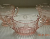15 % Off, Circa 1940s, Pink Depressed Glass Milk/ Creamer Set, Shabby, Cottage