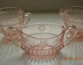 15 % Off, Circa 1940s, Pink Depressed Glass Milk/ Creamer Set, Shabby, Cottage