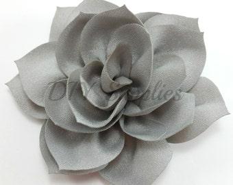 "3"" Gray lotus fabric flower - Rose flower for headbands - Wedding hair clip flower - Wholesale chiffon flowers - Large pink flowers"