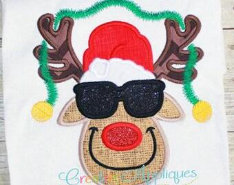 Reindeer with Sunglasses Applique Digital Machine Embroidery Design 4 Sizes, rudolph reindeer applique, rudolph applique