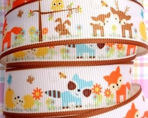 White Grosgrain Ribbon with Cute Forest Animal Printed and brown edges! (A9)