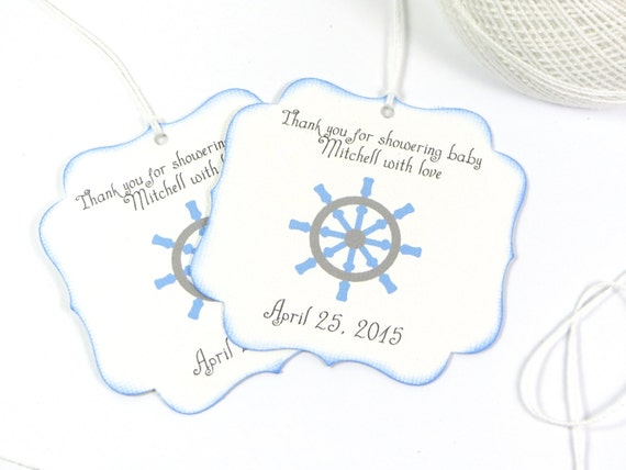 Baby Boy Gift Tags : Nautical baby shower favor tags boy thank you