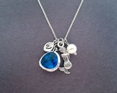 Mermaid, Initial, Necklace, Little, Mermaid, Ariel, Simple,Gift, Jewelry, Birthday, Gift, Necklace, Blue, Glass, Initial, Personalized