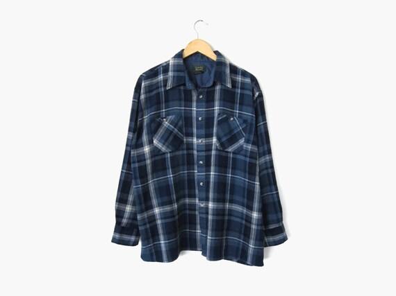 90s Plaid Flannel Blue And White Tartan Shirt Vintage C
