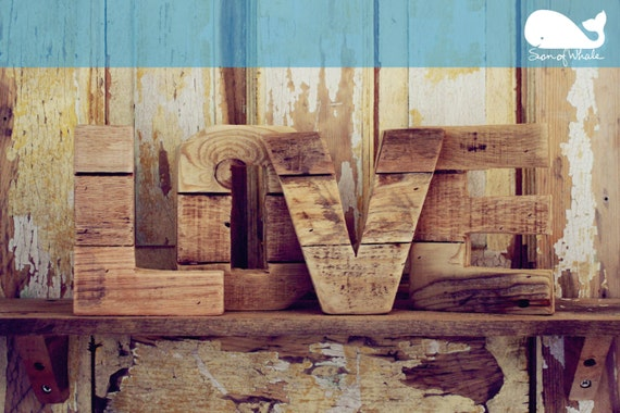 6 inch small love letters original reclaimed wood letters