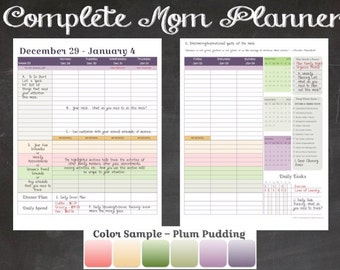 "2016 Complete Mom Planner  5.5"" x 8.5"" in Plum Pudding Color Scheme (Jan 2016 - Dec 2016)"