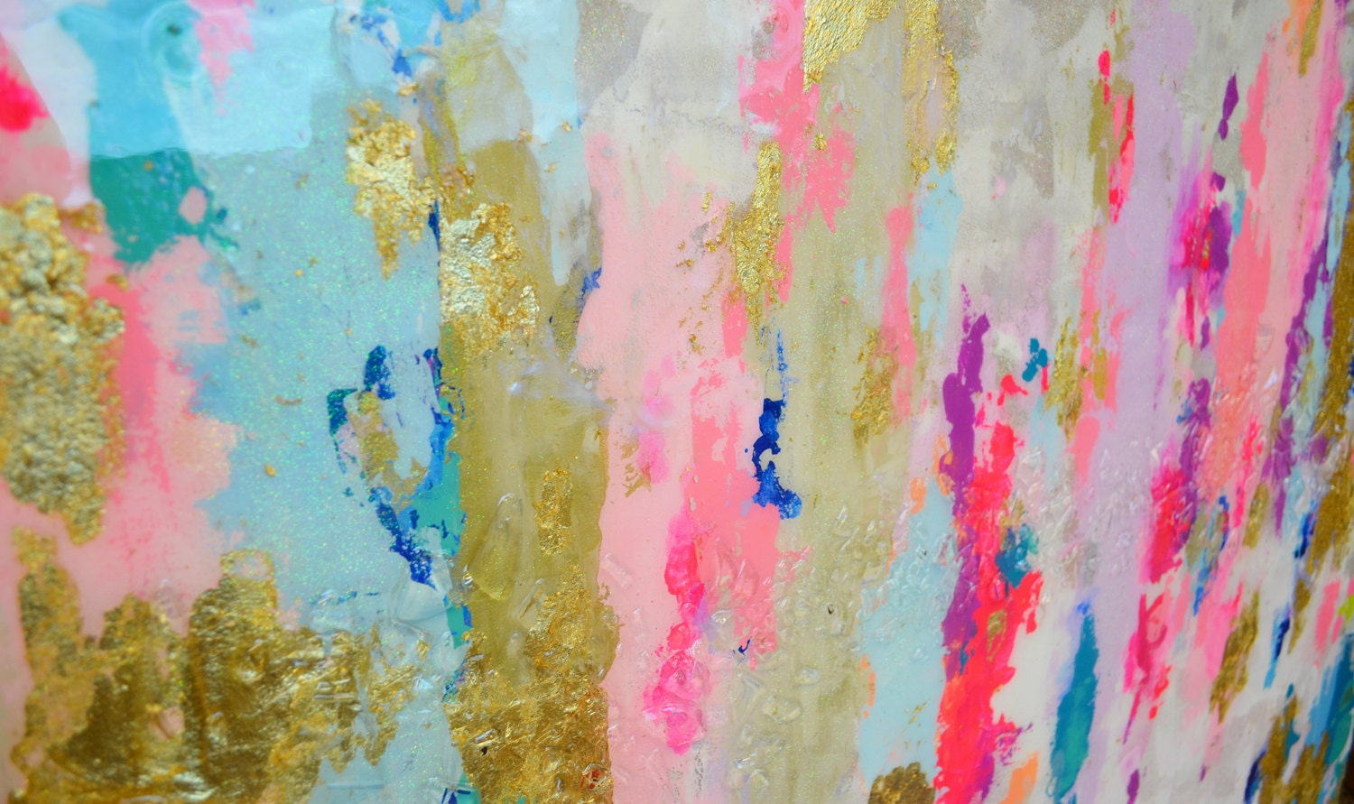 Pink Abstract Canvas Art: Abstract Art Large Canvas Painting Neutral Blue Pink