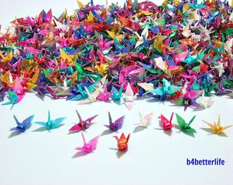 "1,000pcs Assorted Color 1-inch Origami Cranes Hand-folded From 1""x1"" Square Paper. (TX paper series). #FC1-16."
