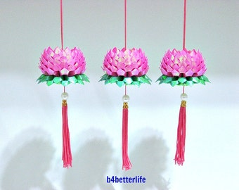 Lot of 3pcs Size Small Pink Color Origami Hanging Lotus. (TX paper series). #FLT-02.