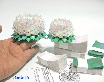 464 sheets of White Color Papers Kit For Making 4pcs of Origami Lotus In 2 Different Sizes. (CY paper series). #CY464-6.