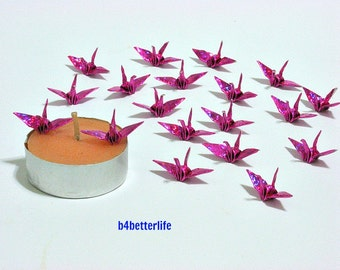"""100pcs Pink Color 1-inch Origami Cranes Hand-folded From 1""""x1"""" Square Paper. (4D Glittering paper series)."""