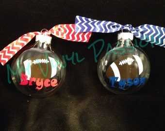 Football Clear Glass Christmas Ornament Personalized with Name, Customized colors with coordinating ribbons
