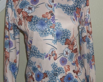 Vintage 1970's Floral, Polyester Blouse,  Floral Button Down