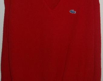 Vintage Izod Lacoste Red V-Neck Pullover Sweater