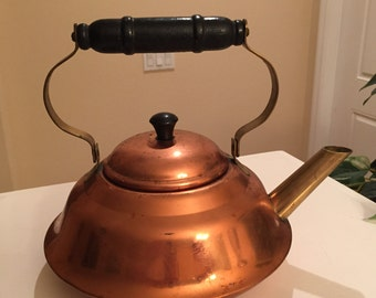 Copper Teapot or Kettle with Wood Handle