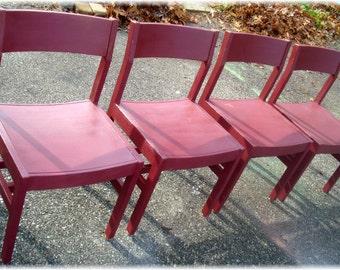 VINTAGE Mid-Century Modern solid oak CHAIRS 4 chair set  Rockin' Raspberry